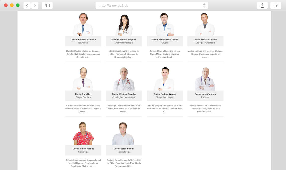So2 Medical Center / Diseño web portal