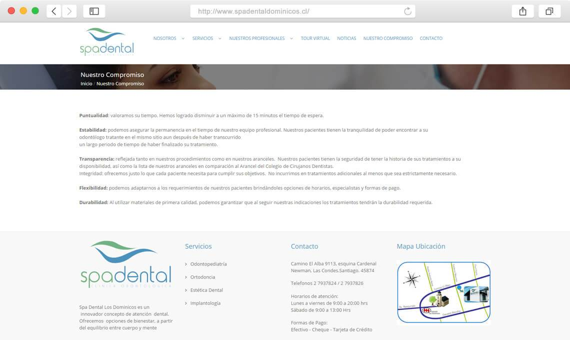 Spa Dental Dominicos / Diseño web empresa