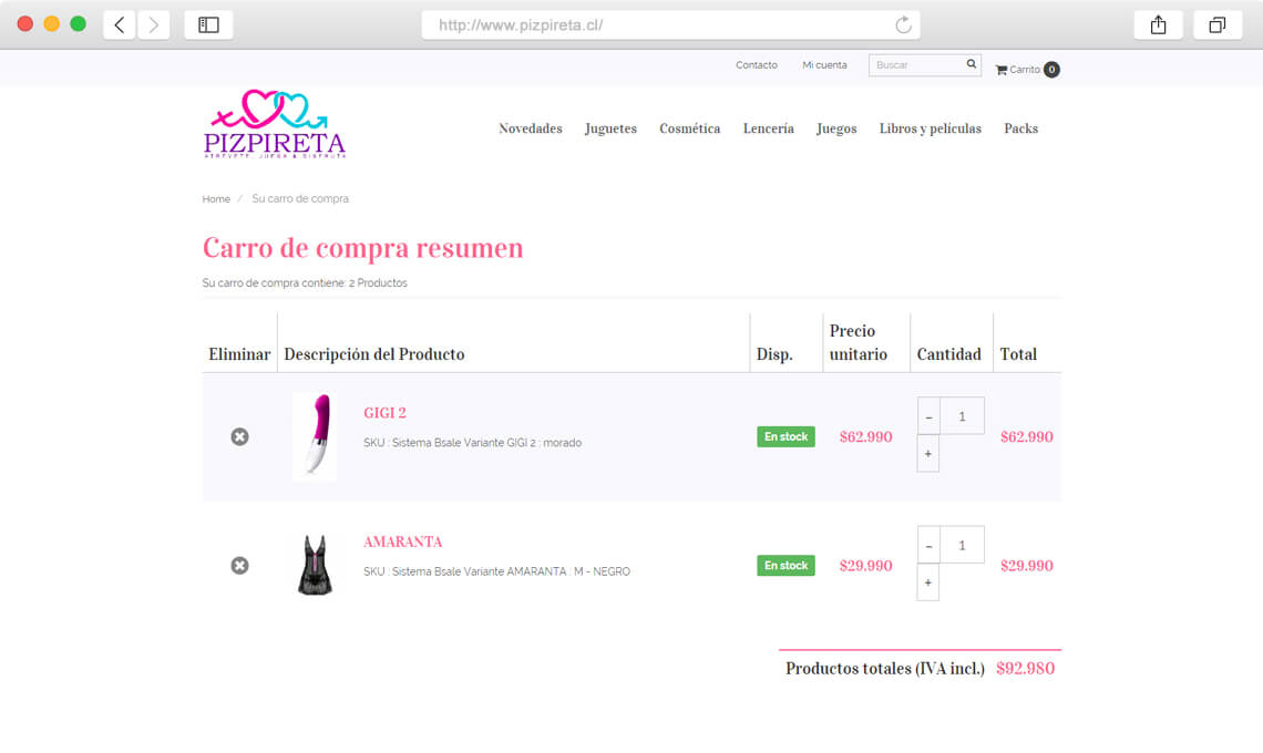 Pizpireta / Diseño web e-commerce